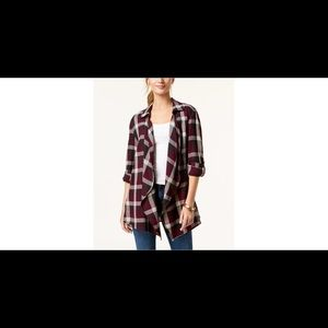 Plaid open-front layering top